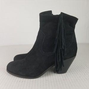 Sam Edelman Sz 8 Black Fringe Suede Ankle Boots
